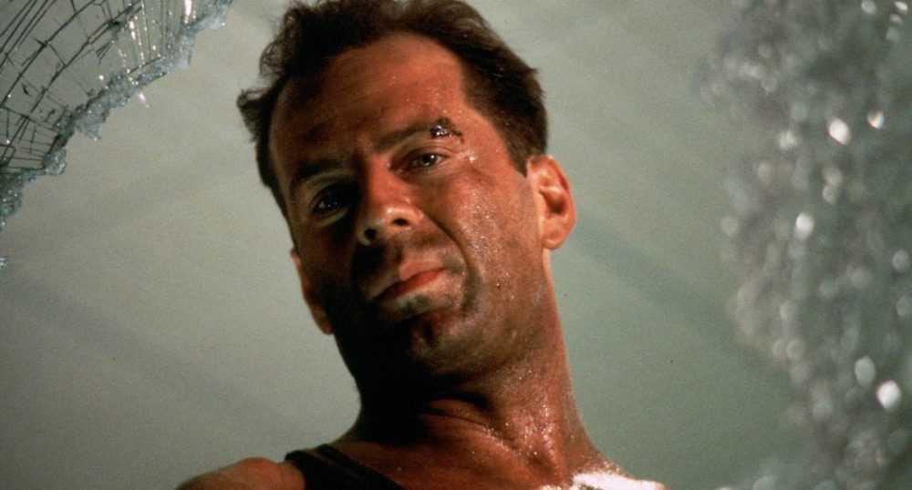Die Hard - John McClane looking through broken window