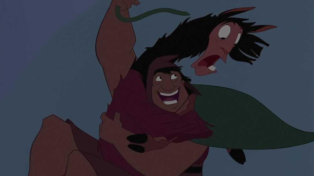 pacha and kuzco swinging from a vine