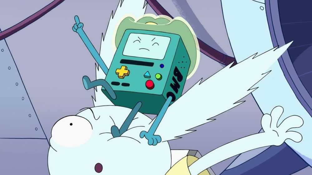bmo jumping on y5's head while wearing a little cowboy hat