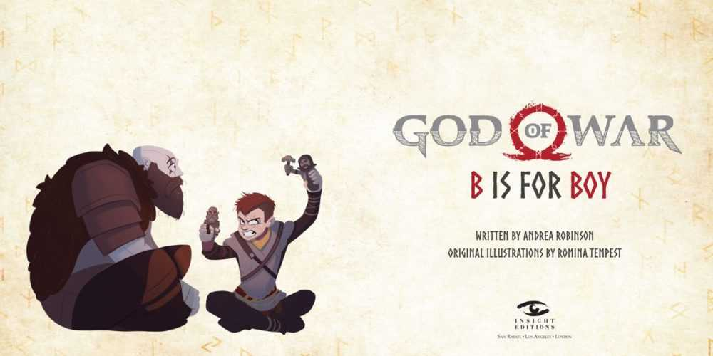 An illustration of Kratos and Atreus playing in God of War: B is For Boy