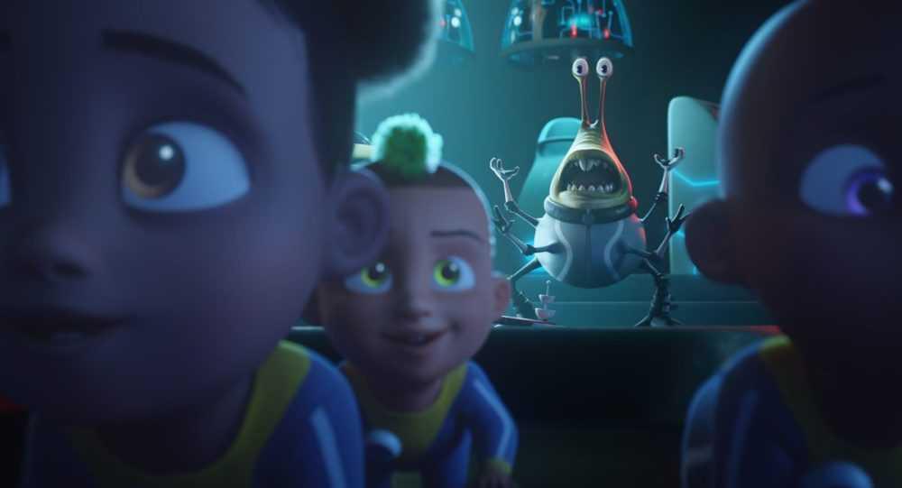 Alien slug-creature Fleech freaks out as Captain Lightspeed's super-children crawl toward the screen in Fearless.